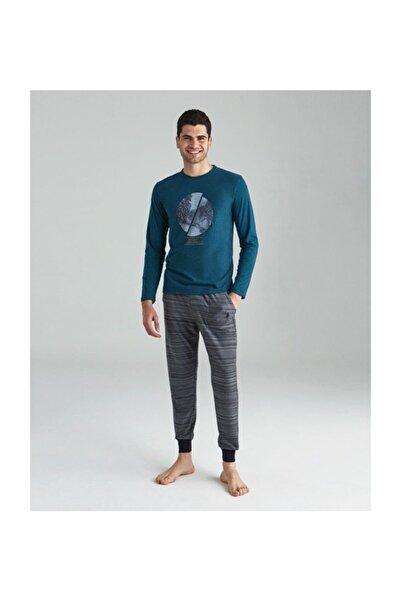 U.S. Polo Assn. Erkek Yeşil Melanj Yuvarlak Yaka Pijama Takımı