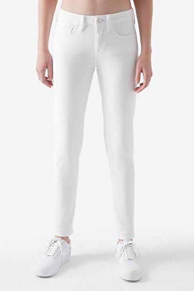 Ada Yırtıklı Beyaz Jean Pantolon