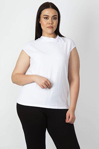 Şans Kadın Beyaz Yaka Bağcıklı Kolsuz Tişört 65N16807