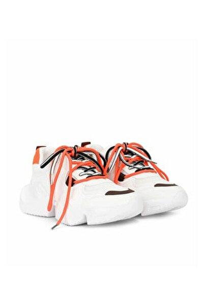 Kadın Turuncu Renkli Bağcıklı Sneaker IS1200062036127