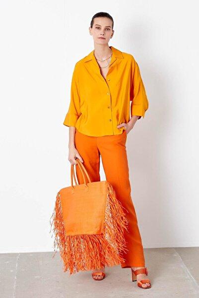 İpekyol Kadın Sarı Kuşaklı Over Size Gömlek IS1200025159AB3