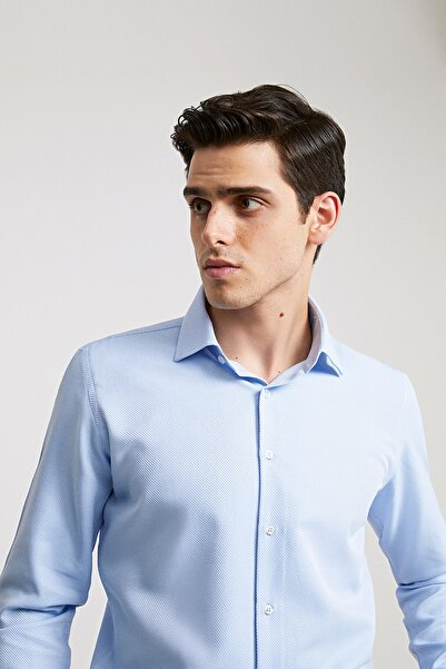 D'S Damat Erkek Slim Fit Gömlek Mavi 4HF02ORT03100_701