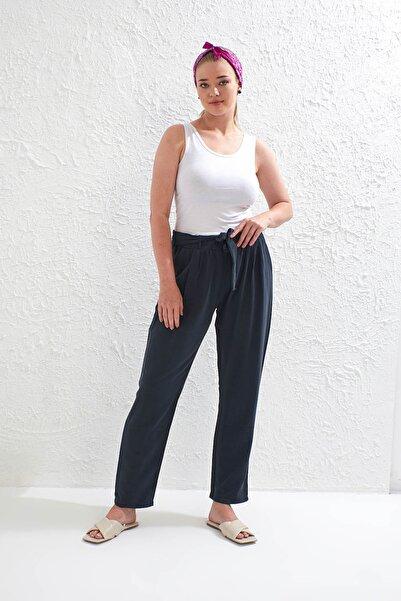 Big Free Kadın Füme Beli Lastik Kuşaklı Cepli Dokuma Şalvar Pantolon Tb20Yb011115
