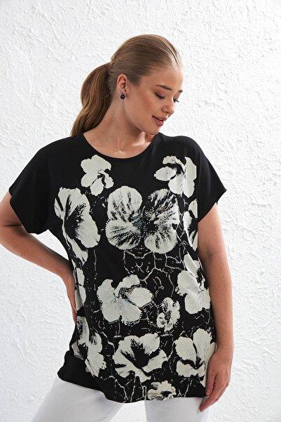 Big Free Kadın Siyah Çiçek Desen Taş Detaylı Kısa Kol Bluz Tb20Yb451090