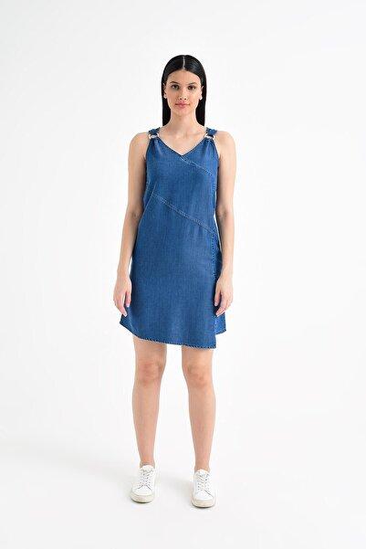 Angelıca Dark Blue Denim Elbise