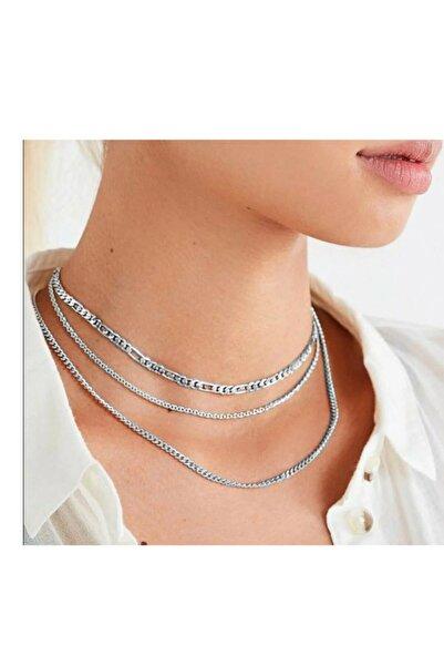Universal Kadın Gümüş Yaldız Zincir Seti