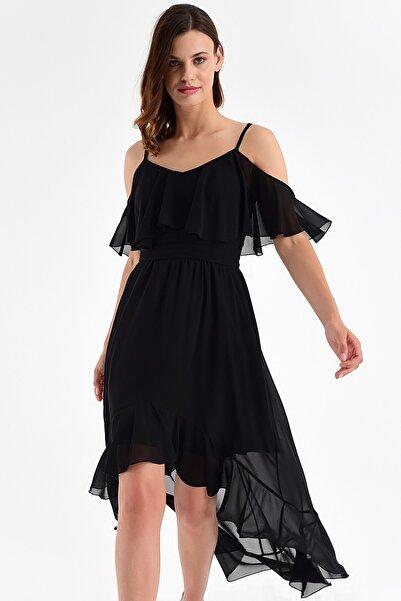 Laranor Kadın Siyah Ayarlanabilir Askılı Yaka ve Etek ucu Volanlı Asimetrik Şifon Elbise 20L6815