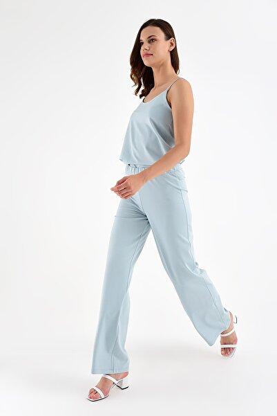 Laranor Kadın Buz Mavisi Beli Lastikli Rahat Kesim Pantolon 20L6841
