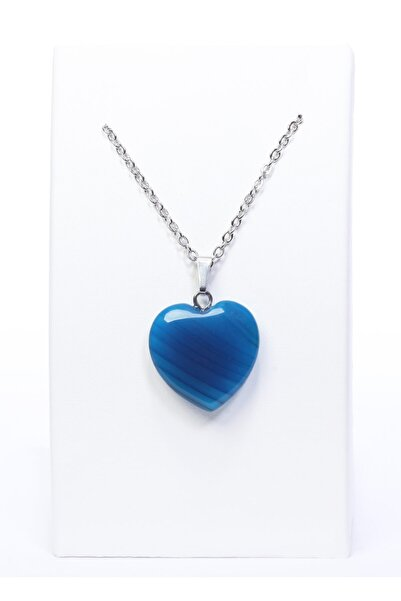 Arı Onyx Arı Onyx Kalp Modeli Doğal Mavi Akik Taşı Doğal Taş Kolye
