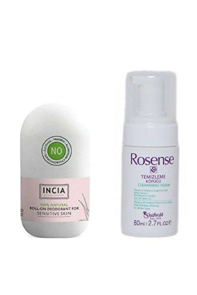 Incia Hassas Ciltler Için Doğal Roll-on Deodorant 50 Ml + Rosense Temizleme Köpüğü 80 Ml