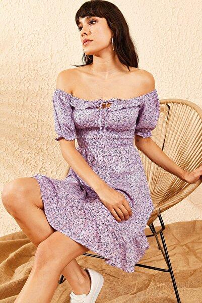 Kadın Lila Gipeli İp Askılı Küçük Çiçek Desenli Elbise 10091046