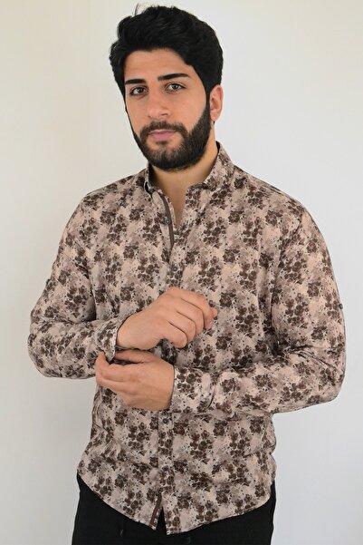 Mcr Erkek Gömlek Kahverengi Çiçekli 37594 Model