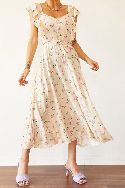 Kadın Krem Omuzları Fırfırlı Desebli Elbise 0YZK6-10186