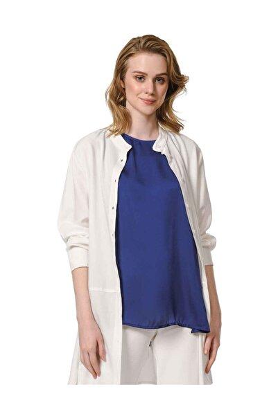 Mizalle Kadın Lacivert Askılı Saten Kolsuz Bluz 19YGMZL1012022