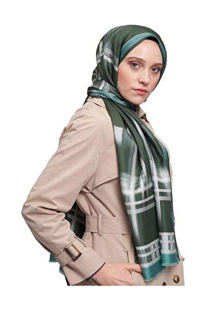 Mizalle Kadın Yeşil Şerit Desenli İpek Şal  19SBMZL1010008