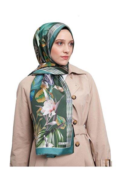 Mizalle Kadın Açik Yeşil Doğa Desenli Şal  19SBMZL1010007