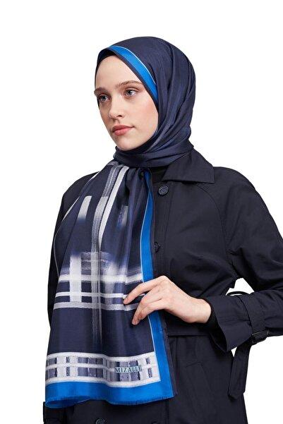 Mizalle Kadın Mavi Şerit Desenli Şal  19SBMZL1010008