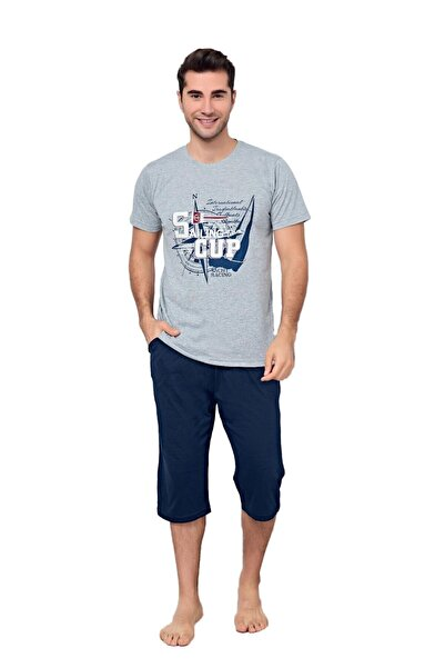 walkie Sailing Gri/lacivert Pijama Takımı