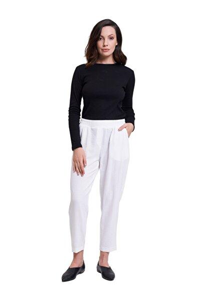 Mizalle Beli Lastikli Dar Paça Pantolon (Beyaz)