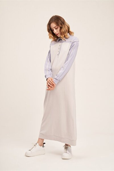 Mizalle Kadın Camel İki İplik Polo Elbise  Elbise