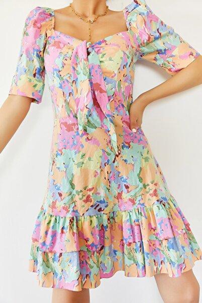XENA Kadın Turkuaz Eteği Fırfırlı Desenli Elbise 0YZK6-10283