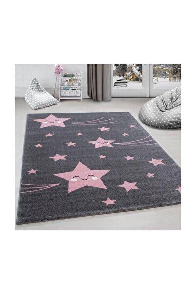 AYYILDIZ Çocuk halısı sevimli yıldız desenli gri pembe