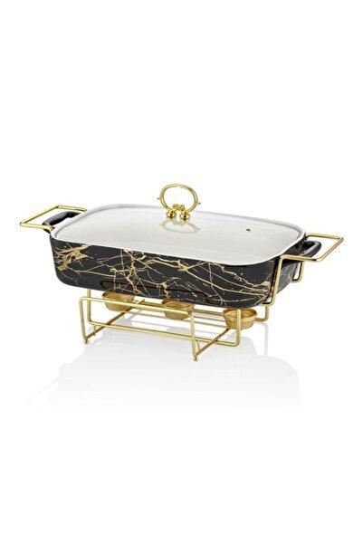 Lucca Home Black&gold 43cm Dikdörtgen Isıtıcılı Servis Tenceresi