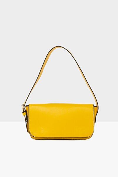 Bagmori Sarı Kadın Kapaklı Baget Çanta M000004755