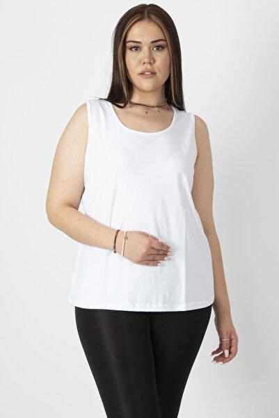 Şans Kadın Beyaz Pamuklu Kumaş Bisiklet Yakalı Kolsuz Basic Tişört 65N16959