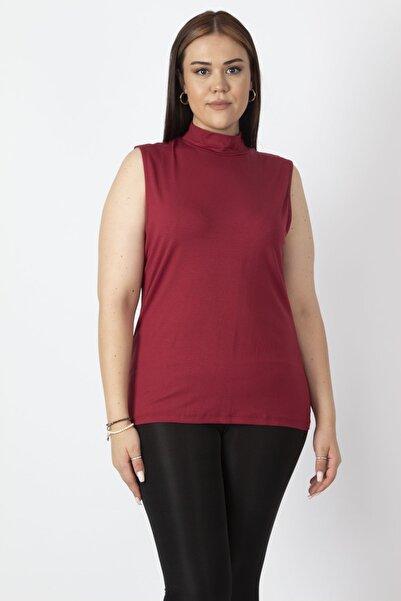 Şans Kadın Bordo Sıfır Yakalı Kolsuz Tişört 65N16958