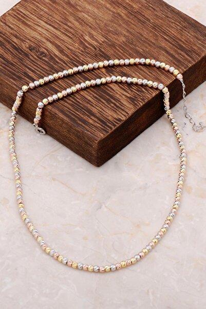 Sümer Telkari Dorissa Altın Yaldızlı Rose Gümüş Renkli Kolye 6852