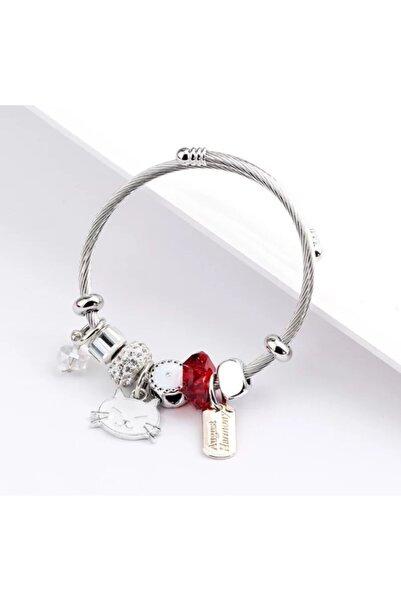 Pandora Kadın Kırmızı Kedi Charmlı  Gümüş Bileklik