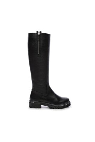 Hakiki Deri Siyah Kadın Çizme Çizme 744 20652 C BN AYK SK19-20