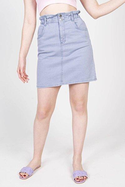 Addax Kadın Bebe Mavi Beli Lastikli Kot Etek E6153 - G12 ADX-0000021786