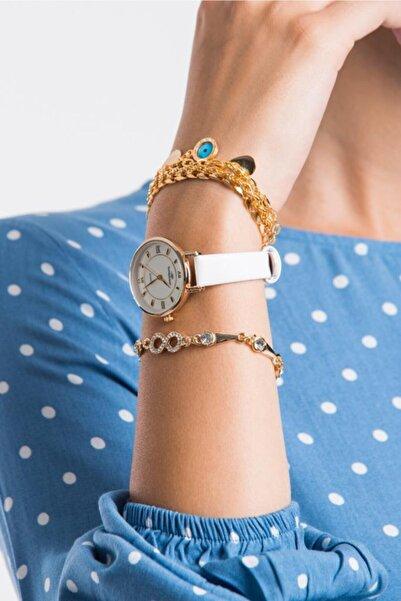 Misis Moda 3 Lü Bileklikli Beyaz Saat Takım