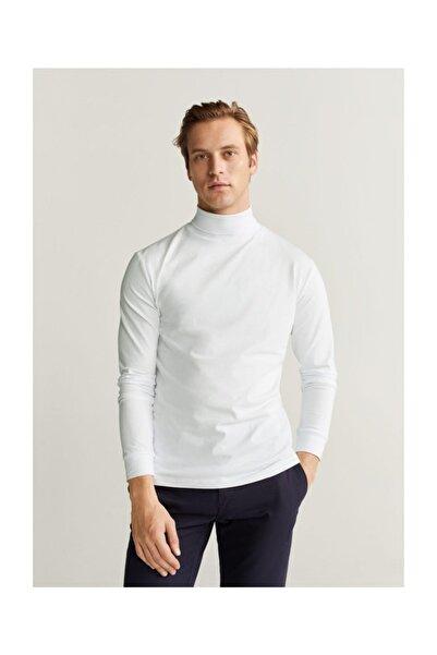 MANGO Man Erkek Beyaz Boğazlı Koton Tişört 67000592