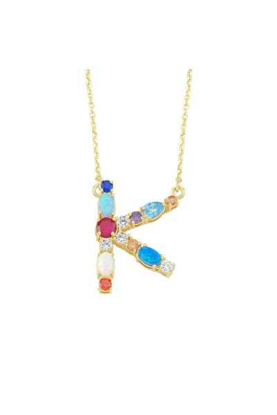 Luzdemia Kadın Çok Renkli Opal Initial K Kolye