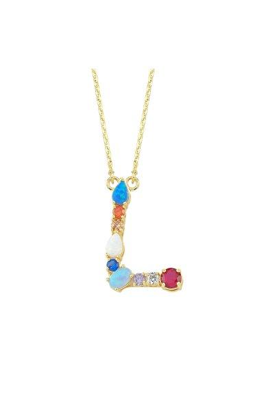 Luzdemia Kadın Çok Renkli Opal Initial L Harfi Kolye