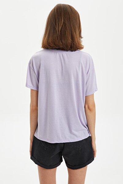 Kadın Mor Yazı Baskılı Kısa Kollu T-Shirt S2859AZ.20SM.PR67