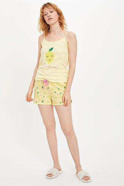 DeFacto Kadın Sarı Askılı Baskı Detaylı Pijama Takımı R4215AZ.20SM.YL273