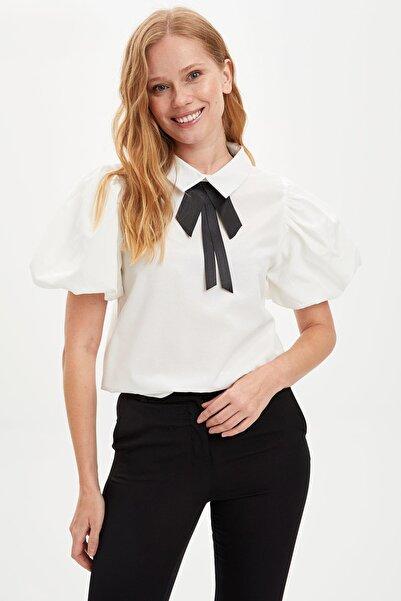 DeFacto Kadın Beyaz Fiyonk Kurdale Detaylı Kısa Kollu Bluz R8879AZ.20SM.WT43