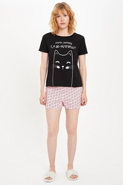 DeFacto Kadın Pembe Baskı Detaylı Pijama Takımı R4563AZ.20SM.PN99