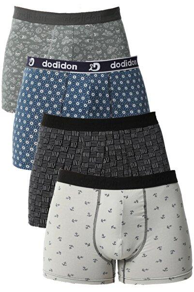 modalove Erkek Karışık 4 'lü Pamuk Full Likralı Short Karışık Boxer