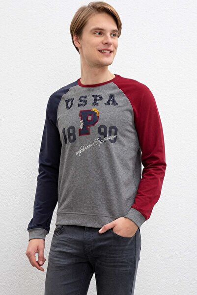 Erkek Gri U.s.polo Assn. 841344 0 Yaka Sweat