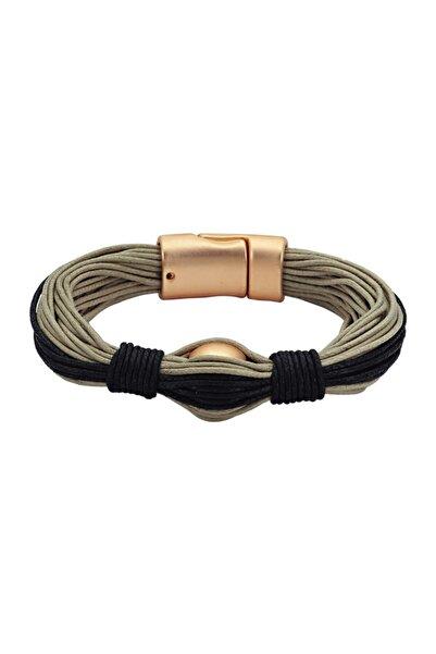 Luzdemia Deri Bileklik - 0059 - Altın - 18 cm