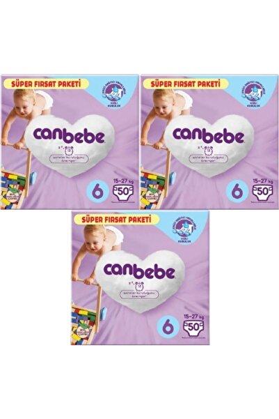 Canbebe 3'lü Bebek Bezi Süper Fırsat Paketi 6 Beden 50 Adet