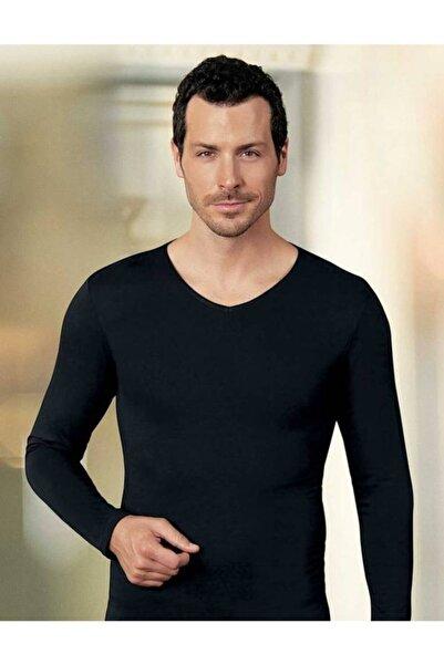 Şahinler Erkek Siyah Uzun Kollu V Yaka Süprem T-shirt Me075
