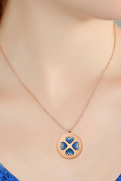 Papatya Silver 925 Ayar Rose Altın Kaplama Gümüş Plaka Kalp Kolye