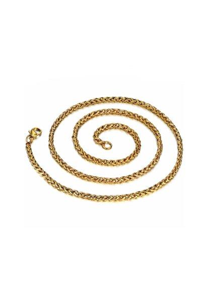 4 mm. Sarı Gold Burgu Çelik Bayan-Erkek Zincir dt50-4
