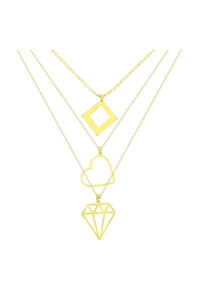 Chavin Elmas Kalp Figür 3 Zincirli Gümüş Bayan Kolye gk063